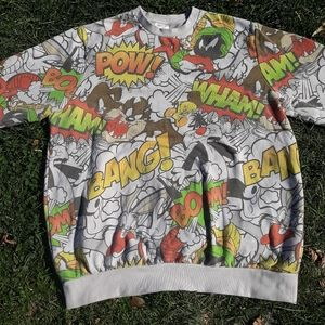 VTG Looney Tunes Mash Up All Over Print Pullover